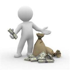 דמות עם כסף ביד ושקי כסף לידה